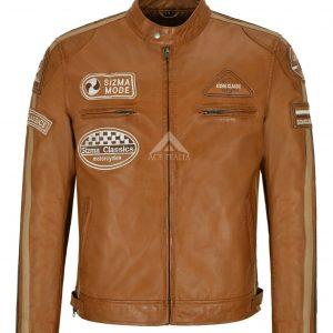 Men's SIZMA Leather Jacket Tan Classic Bikers Fashion Real Leather Jacket 5011