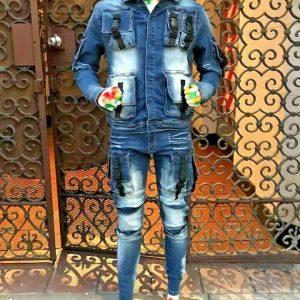 Men's Sandblast Wash Fashion Denim Jacket / Denim Pants