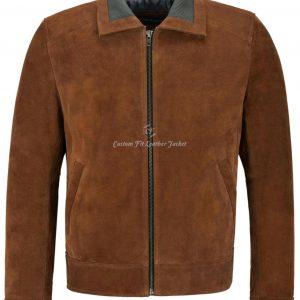 Men's Suede Leather Bomber Jacket Knit Collared Tan Modern Blouson Fashion 2959