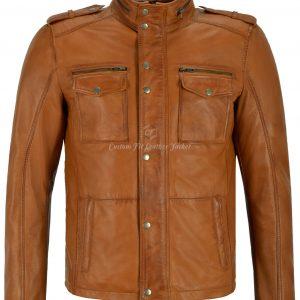 Men's Trojan Leather Jacket Tan Biker Style Fashion Real Lambskin Leather 5540