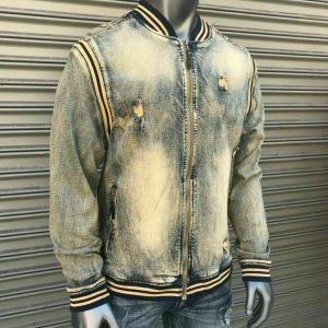 Men's Vintage Wash Fashion Denim Track Jacket