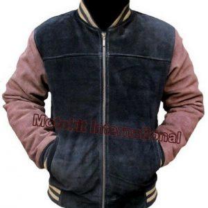 Motokit Men's Fashion Bomber Black & Brown Cow Suede Leather Jacket