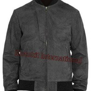 Motokit Men's Fashion Bomber Style Gray Cow Suede Leather Jacket
