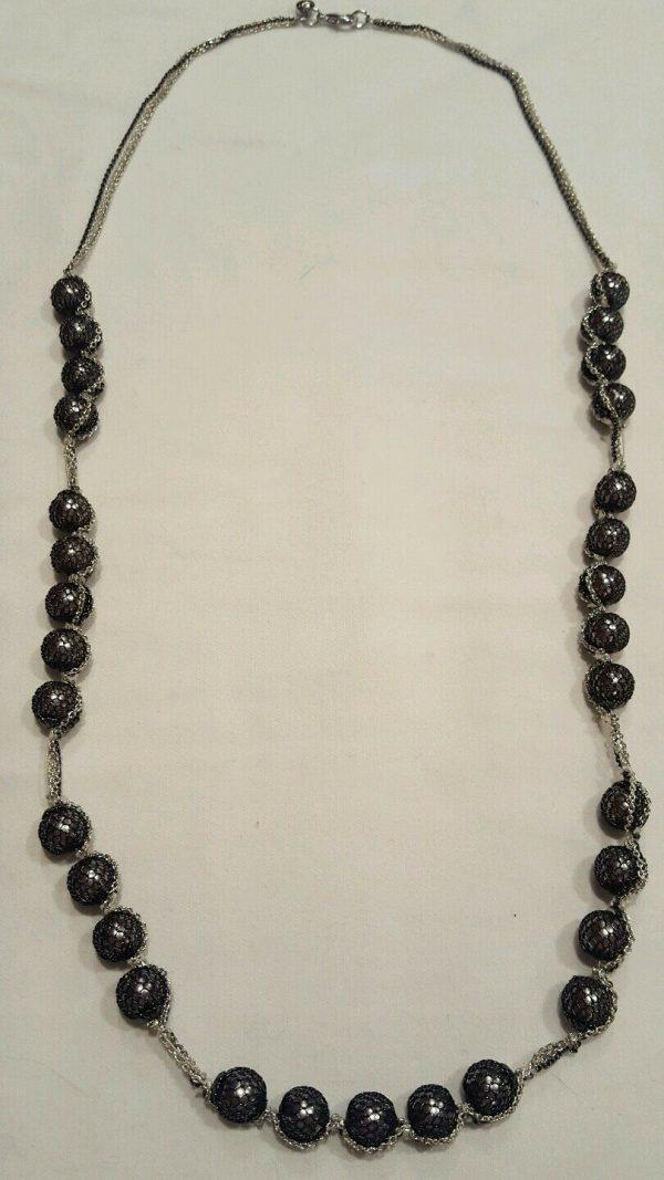 NWOT LOFT Long Strand Necklace Silver/Gray