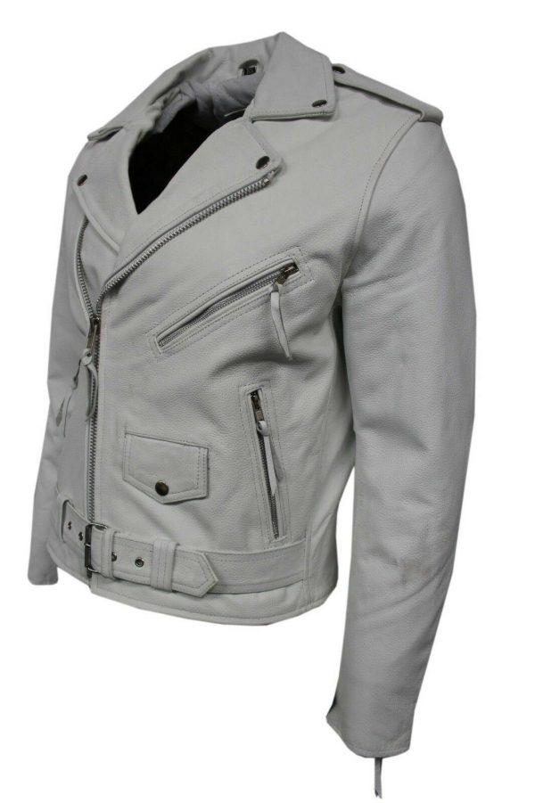New Fashion Men's Brando White Real Hide Leather Classic Biker Stylish Jacket