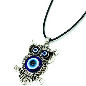Owl  Evil Eye Charm Necklace #3045