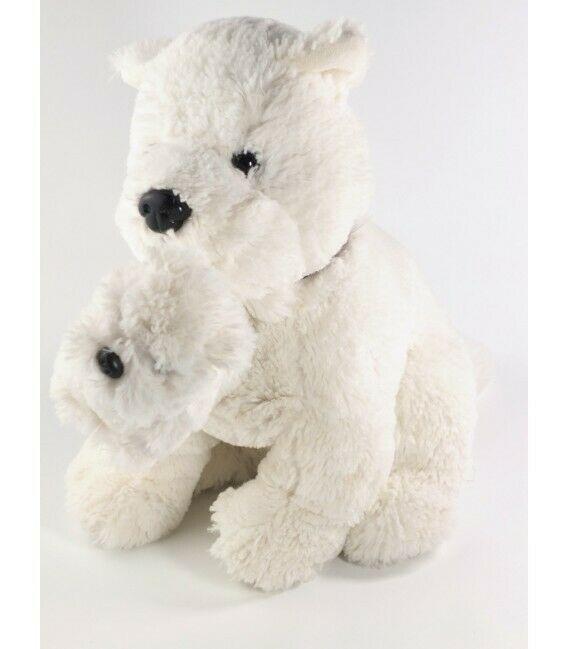 Peluche doudou Chien blanc et son bebe Jours Heureux 35 cm