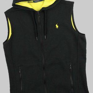 Polo Ralph Lauren Men's Fashion Contrast Fleece Hooded Zip Vest, Black Yellow, S