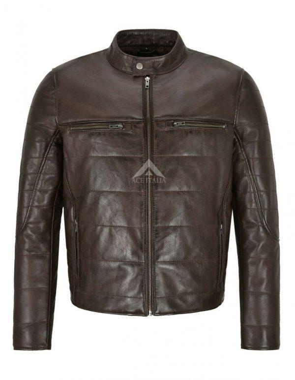 RAYLAND Men's Leather Jacket Brown Padded Fashion Designer Real Lambskin Jacket