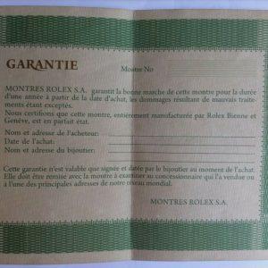 ROLEX GARANTIE WARRANTY PAPER BLANK REF. 572.01.300 100% ORIGINAL