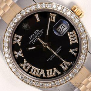 Rolex Datejust 36mm Two Tone 18k & Steel Black Diamond Roman Dial-Diamond Bezel