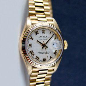 Rolex Lady Datejust President Yellow Gold White Pyramid Roman 69178 -WATCH CHEST