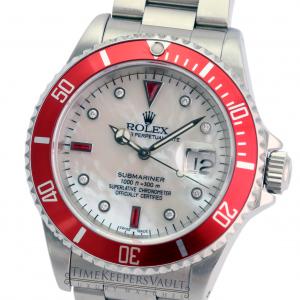 Rolex  Mens Submariner SS White MOP Diamond Dial Red Insert 40mm Watch