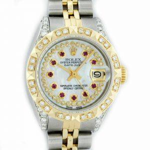Rolex Watch Women's Datejust Steel - 18K Yellow Gold MOP Diamond / Ruby Dial