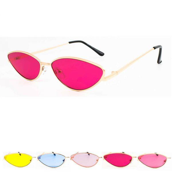 Slim Narrow Metal Rose Gold Frame Cat Eye Women Sunglasses Retro Fashion Shades
