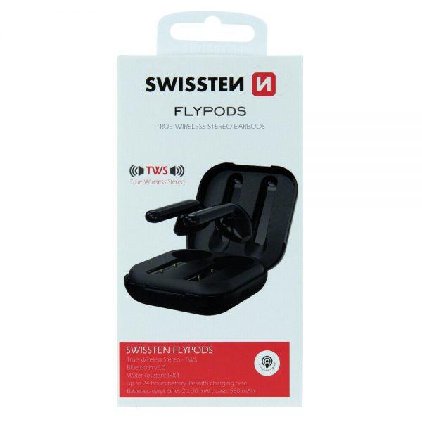 Swissten Bluetooth TWS Earphones Flypods, Kopfhörer, BT V5.0, black, Blister