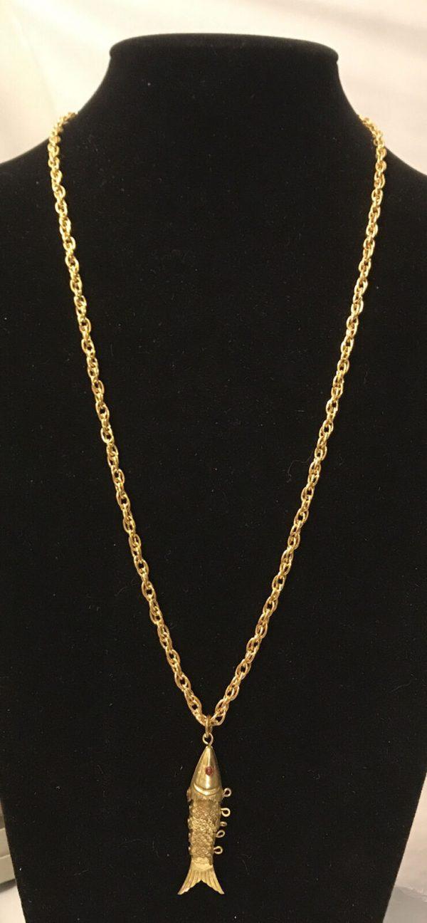 """Vintage  Fish Pendant Necklaces 24"""" Long"""