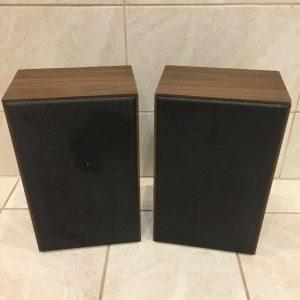 Vintage Sharp CP315 E Bookshelf Hifi Speakers, Wooden, Wood, Made in England