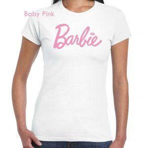 Womens ladies girls t shirt  fashion TEE BARBIE LOGO S-XL 3YR-11YR WHITE COTTON