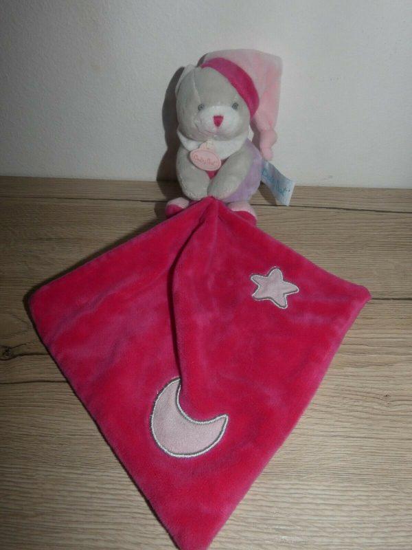 doudou chat gris mauve rose étoile lune luminescents baby nat'